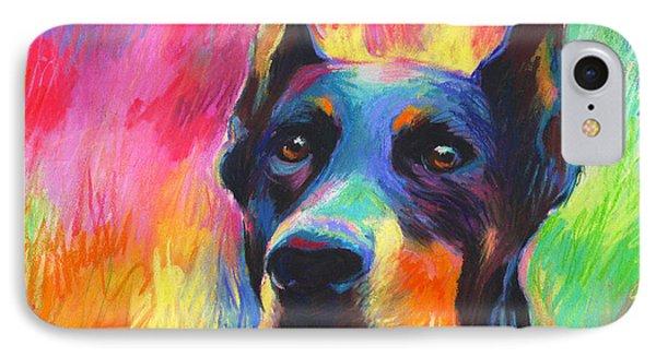 Vibrant Doberman Pincher Dog Painting IPhone Case by Svetlana Novikova