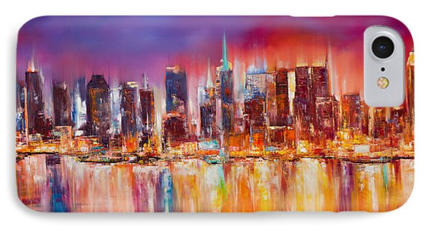 Vibrant New York City Skyline IPhone Case by Manit