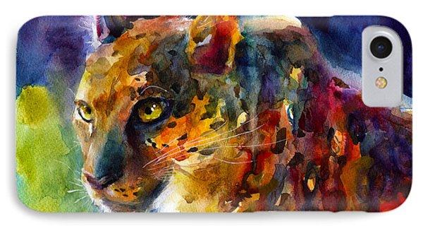 Vibrant Watercolor Leopard Wildlife Painting Phone Case by Svetlana Novikova