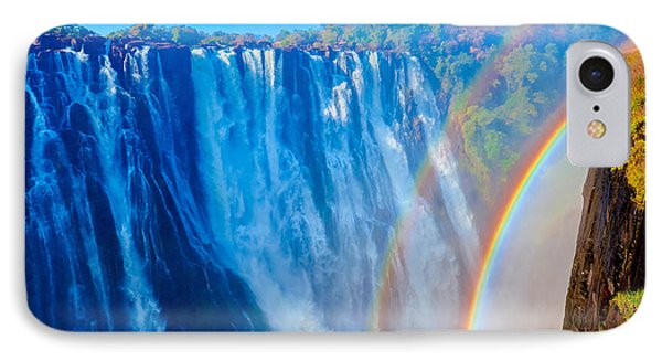 Victoria Falls Double Rainbow IPhone Case by Jeff at JSJ Photography