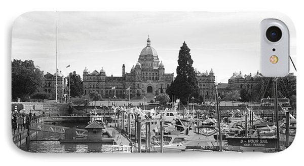 Victoria Harbour With Parliament Buildings - Black And White Phone Case by Carol Groenen