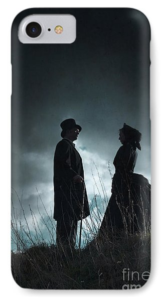 Victorian Couple Face On Another Before A Stormy Sky Phone Case by Lee Avison