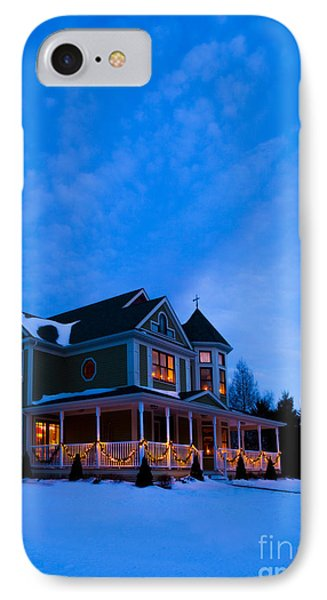 Victorian House At Christmastime Phone Case by Diane Diederich