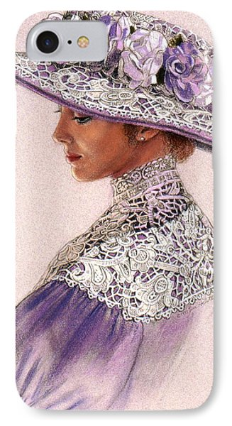 IPhone Case featuring the painting Victorian Lady In Lavender Lace by Sue Halstenberg