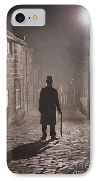 Victorian Man With Top Hat On A Cobbled Street At Night In Fog Phone Case by Lee Avison
