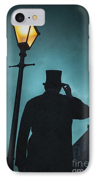 Victorian Man With Top Hat Under A Gas Lamp Phone Case by Lee Avison