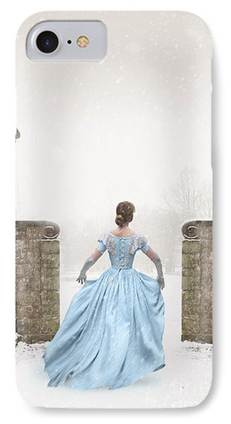 Victorian Woman Running In Snow Phone Case by Lee Avison
