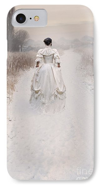 Victorian Woman Walking Through A Winter Meadow IPhone Case