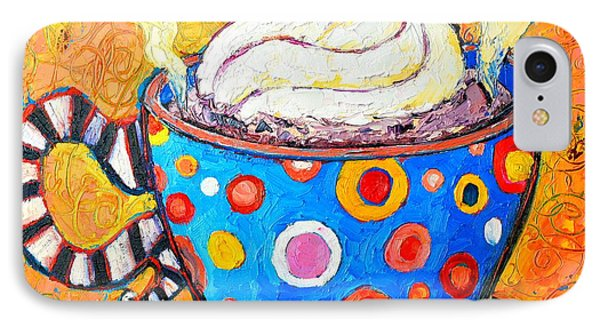 Viennese Cappuccino Whimsical Colorful Coffee Cup IPhone Case by Ana Maria Edulescu