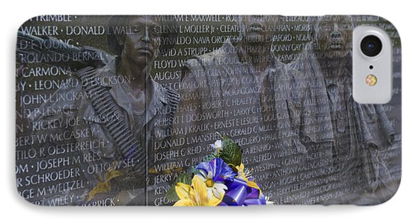 Vietnam Veteran Wall And Three Soldiers Memorial Collage Washington Dc_2 IPhone Case by David Zanzinger