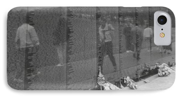 Vietnam Wall Reflections Bw Phone Case by Joann Renner