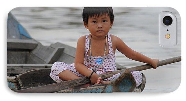 Vietnamese Girl On Lake Tonle Sap IPhone Case by Vivian Christopher