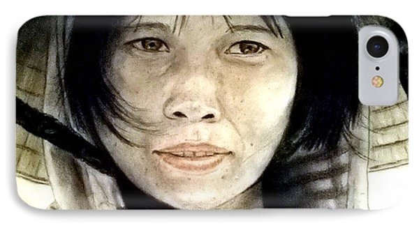 IPhone Case featuring the pastel Vietnamese Woman Wearing A Conical Hat by Jim Fitzpatrick