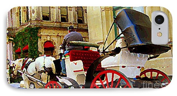 Vieux Port Caleche Scene White Horse Red Wheels Trots Along Cobbled Stones Streets Carole Spandau  Phone Case by Carole Spandau