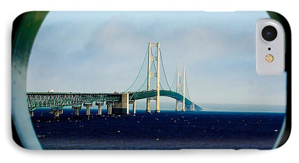 View From The Mackinac Light IPhone Case by Nick Zelinsky