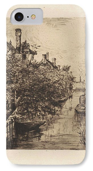 View Of A Canal In Amsterdam, Frans Schikkinger IPhone Case
