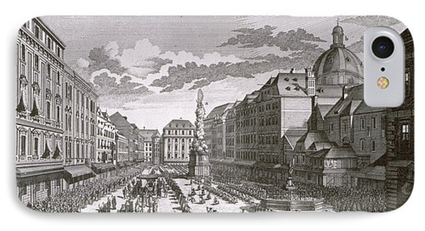 View Of A Procession In The Graben Engraved By Georg-daniel Heumann 1691-1759 Engraving IPhone Case
