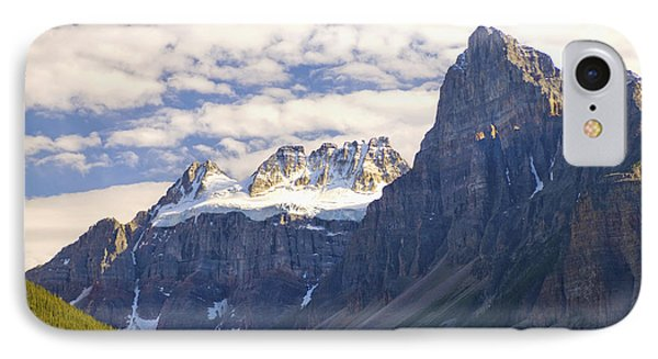 View Of Glacial Mountains And Trees In Phone Case by Laura Ciapponi