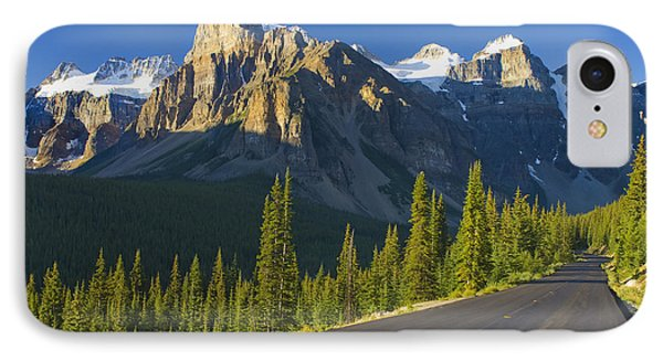 View Of Glacial Mountains And Trees Phone Case by Laura Ciapponi