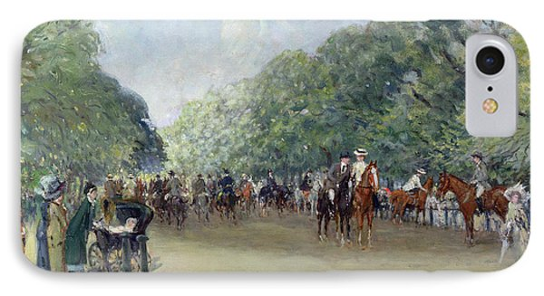View Of Hyde Park With Figures On Rotten Row  IPhone 7 Case by Albert Jnr Ludovici
