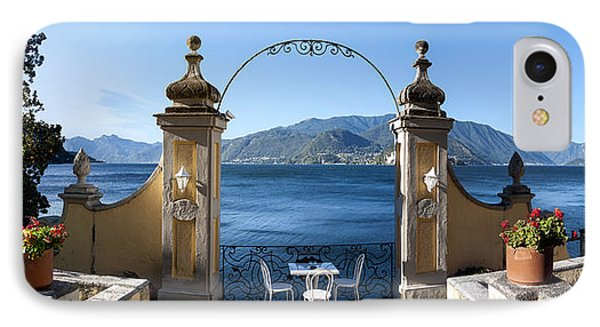 View Of Lake Como From A Patio IPhone Case by Panoramic Images