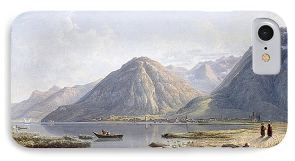 View Of Lake Geneva With The Town Of Villeneuve IPhone Case by Francis Danby