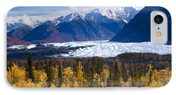 View Of Matanuska Glacier With Golden IPhone Case by Carl Johnson