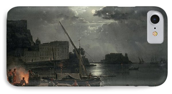 View Of Naples In Moonlight IPhone Case by Silvestr Fedosievich Shchedrin