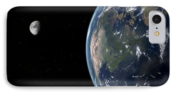 View Of North America With Rise In Sea Phone Case by Walter Myers