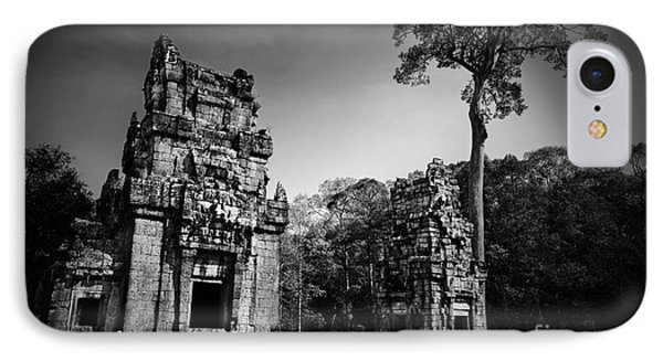 View Of Ruins In Black And White IPhone Case by Julian Cook