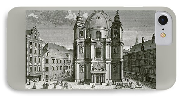 View Of The Peterskirche, Vienna Engraved By Johann Bernard Hattinger IPhone Case
