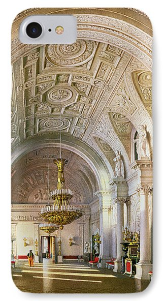 View Of The White Hall In The Winter Palace In St. Petersburg, 1865 Wc On Paper IPhone Case by Luigi Premazzi