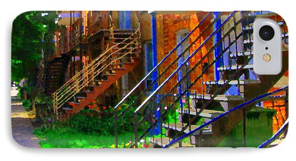 View Of Verdun Steps Stairs Staircases Winding Through Summer  Montrealstreet Scenes Carole Spandau Phone Case by Carole Spandau