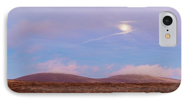 View Of War Hill And Djouce Mountain At Moonrise IPhone Case by Semmick Photo