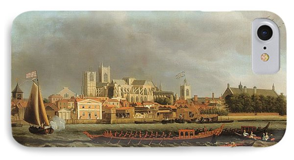 View Of Westminster From Lambeth With A Royal Barge In The Foreground Oil On Canvas IPhone Case by Samuel Scott