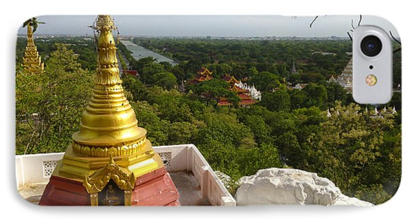 IPhone Case featuring the photograph View Over Ancient City Of Mandalay Aungmyaythazan From Mandalay Hill Mandalay Burma by Ralph A  Ledergerber-Photography