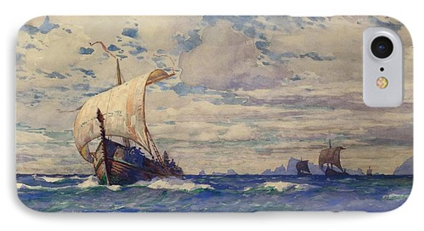Viking Ships At Sea Phone Case by Pg Reproductions