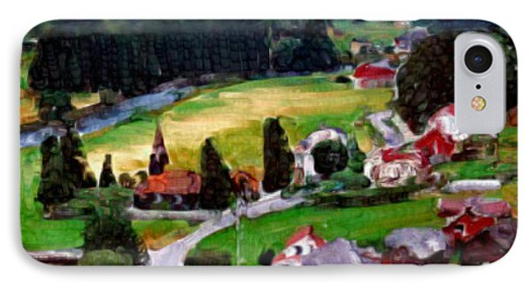 IPhone Case featuring the painting Village In The Mountains by Bruce Nutting