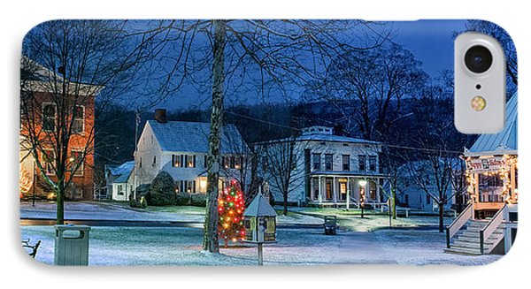 Village Of New Milford - Winter Panoramic IPhone Case by Thomas Schoeller