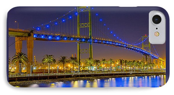 IPhone Case featuring the photograph Vincent Thomas Bridge - Nightside by Jim Carrell