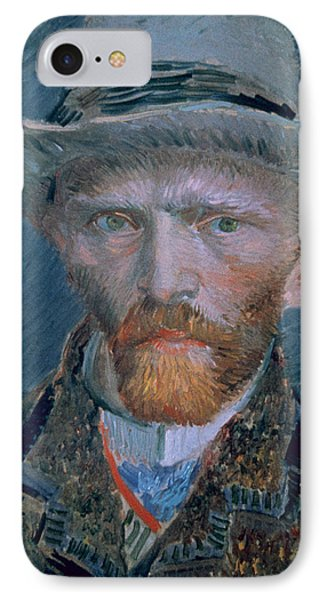 Vincent Van Gogh Self-portrait Bust With Brown Jacket And Gray Hat IPhone Case by Vincent Van Gogh