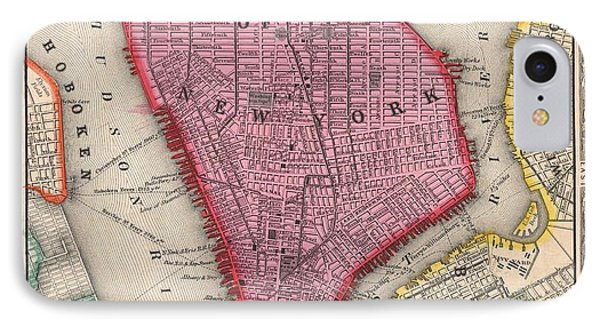 Vintage 1860 New York City Map IPhone Case