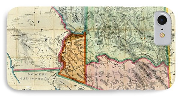 Vintage 1865 Arizona Territory Map IPhone Case by Dan Sproul