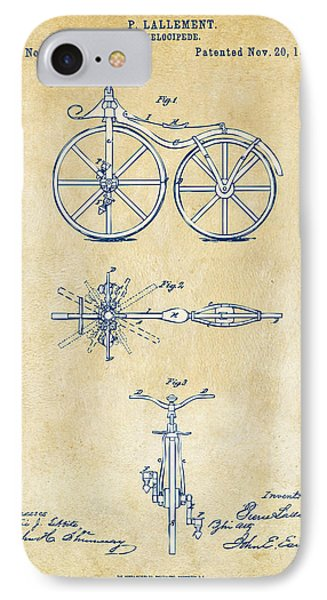 Vintage 1866 Velocipede Bicycle Patent Artwork IPhone Case by Nikki Marie Smith