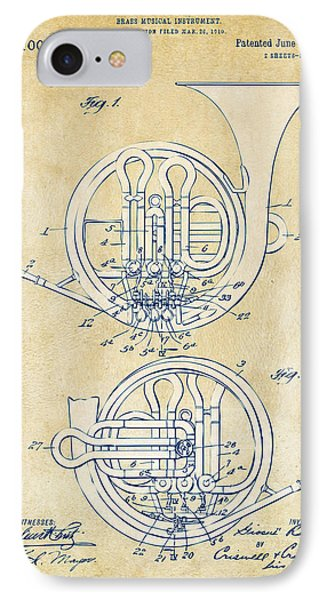 Vintage 1914 French Horn Patent Artwork Phone Case by Nikki Marie Smith
