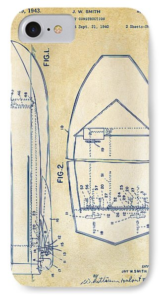 Vintage 1943 Chris Craft Boat Patent Artwork IPhone Case by Nikki Marie Smith