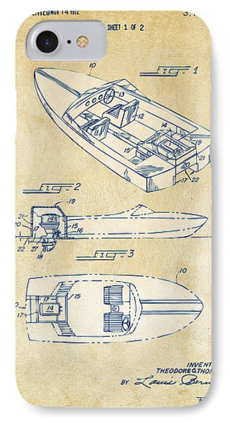 Vintage 1972 Chris Craft Boat Patent Artwork IPhone Case