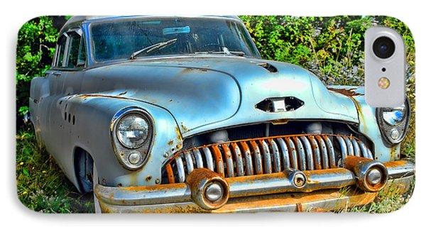 Vintage American Car In Yard Phone Case by Olivier Le Queinec