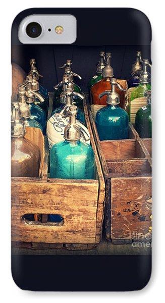 Vintage Antique Seltzer Bottles IPhone Case by Miriam Danar