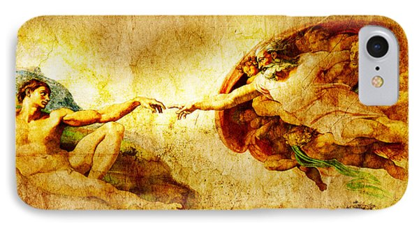 Vintage Art - The Creation Of Adam IPhone Case by Stefano Senise